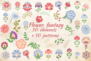 Flower fantasy 2 vector set