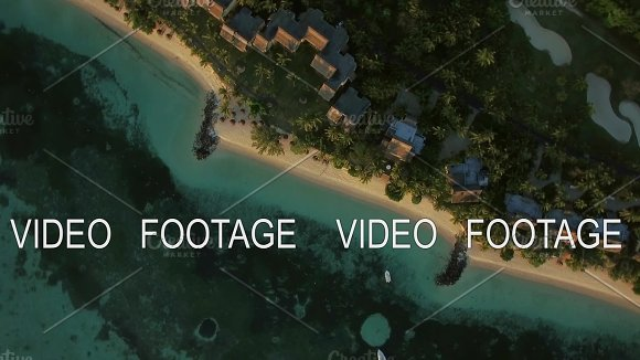 Aerial Shot Of Island Oceanfront With Villas Mauritius