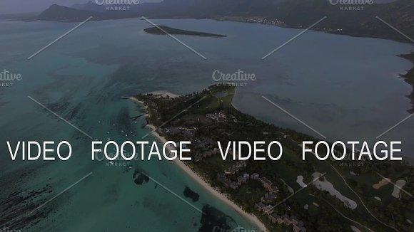 Aerial Panorama Of Ocean And Mauritius Island