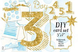 DIY birthday card set, baby boy
