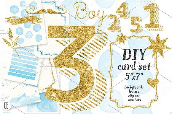 DIY birthday card set baby boy Illustrations Creative Market – Birthday Cards Baby