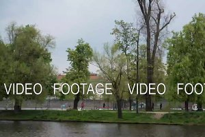 Time lapse view of Prague cityscape moving along the Vltava river on boat, Czech Republic