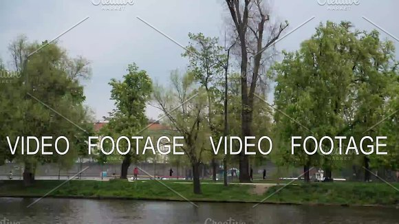 Time Lapse View Of Prague Cityscape Moving Along The Vltava River On Boat Czech Republic