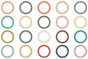 Round polka dot labels clip art set