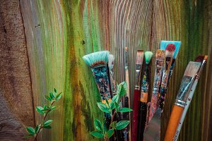 Brushes on wooden background #2