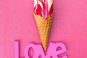 Tulip in  ice cream waffle cone