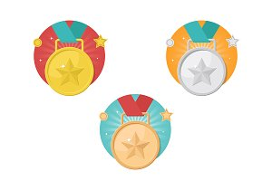 Medals with stars icon set