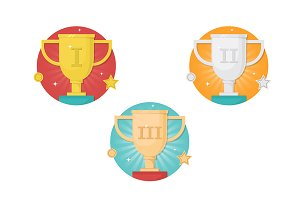 Winner cups icon set
