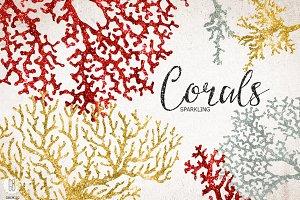 Sparkling corals, sea life clip art