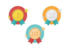 Winner medals icon set