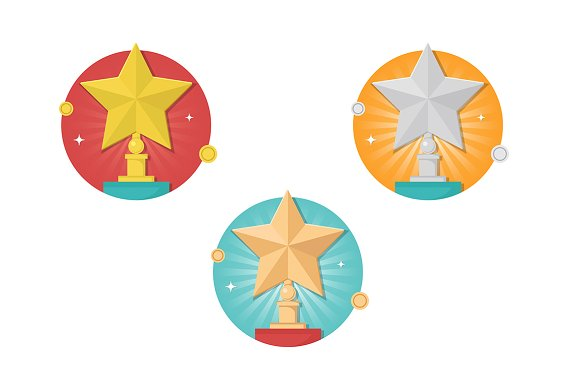 Winner stars icon set in Graphics