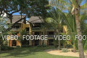 Tropical resort with hotels and palm garden, Mauritius