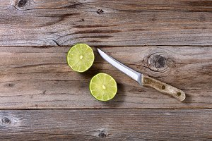 Sliced Ripe Lime and Paring Knife