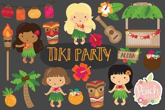 Tiki Party Luau Clipart