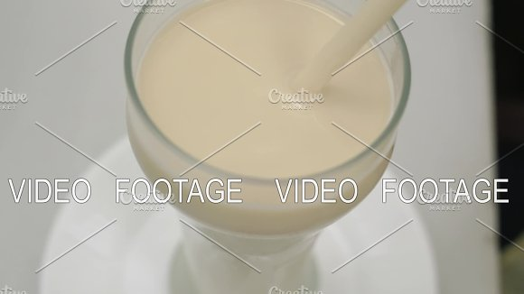 Drinking Horchata With Straw