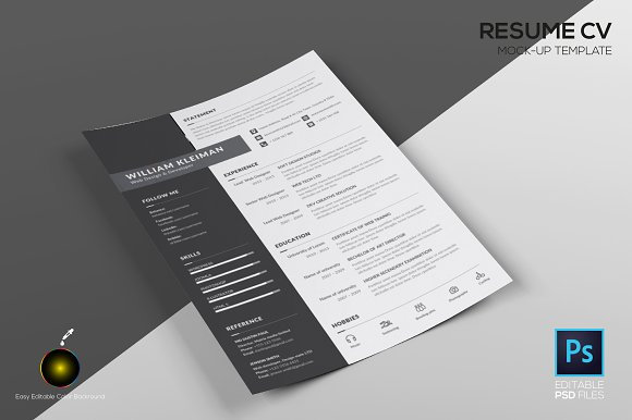 Resume CV Mock Up Template