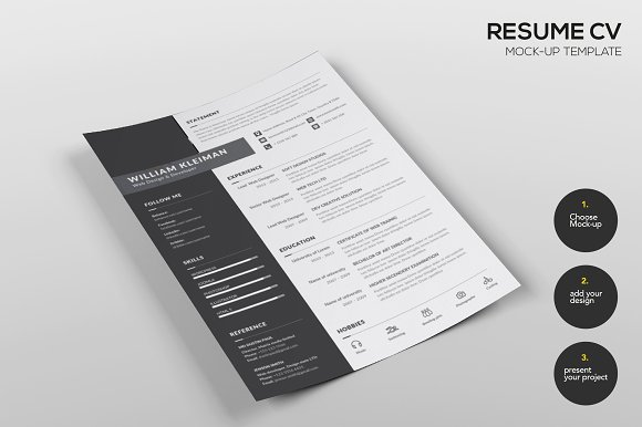 resume cv mock up template product mockups creative market
