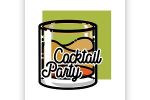 Color vintage coctail party emblem
