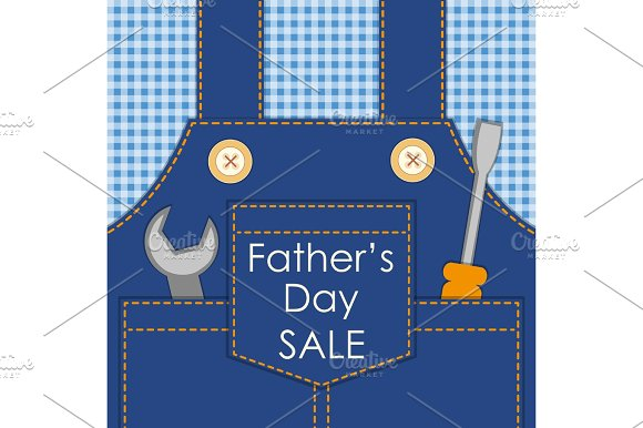 Primitive Retro Father's Day Card As Worker Overalls With Tools