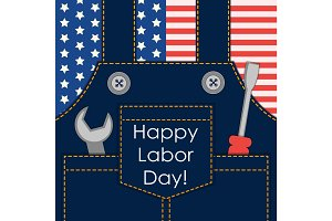 Primitive retro Labor Day card as worker overalls with tools on American flag background