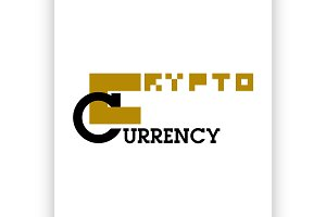 Color vintage cryptocurrency emblem
