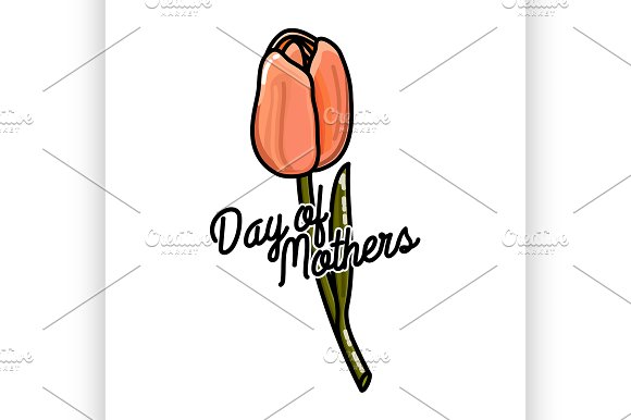 Color Vintage Mothers Day Emblem