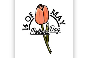 Color vintage mothers day emblem
