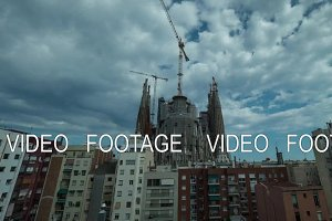 Timelapse of Sagrada Familia in day, evening and at night