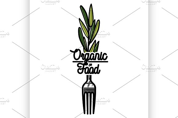 Color Vintage Organic Food Emblem