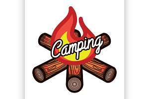 Color vintage summer camp emblem