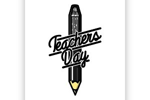 Color vintage teachers day emblem