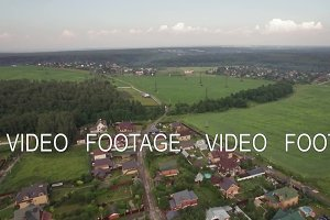Private houses in Lukino Village, aerial view