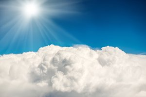 Shining sun on blue sky