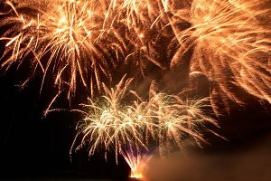 Colorful fireworks on the black sky