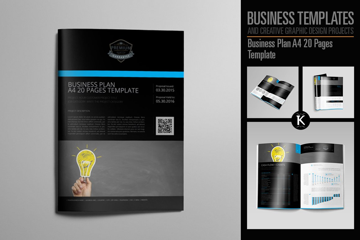 Business plan a4 20 pages template templates creative market cheaphphosting Images