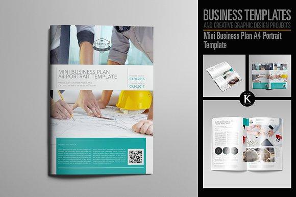 Mini Business Plan A Portrait Templates Creative Market - Mini business plan template