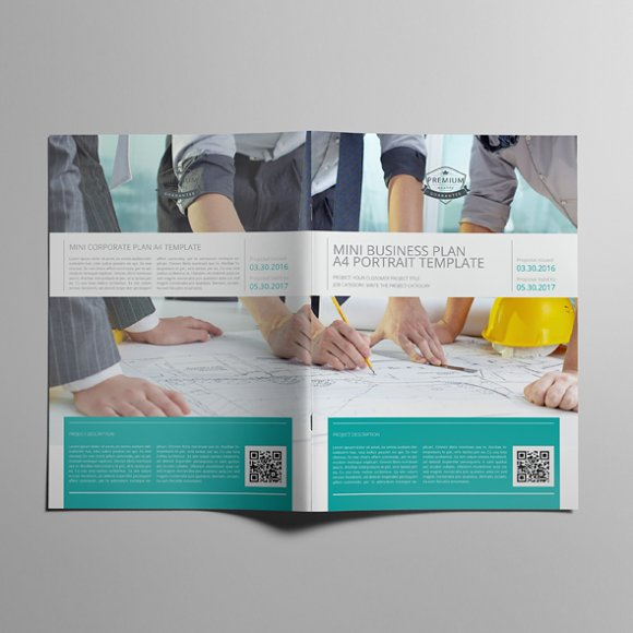 mini business plan a4 portrait templates creative market