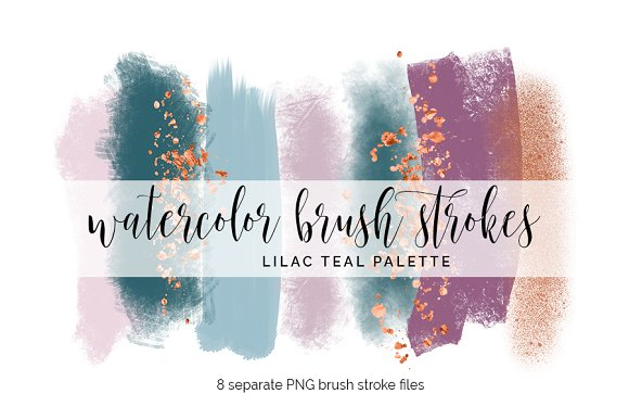 Brush Strokes Clipart Lilac Teal
