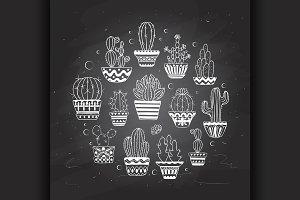 hand drawn vector cactuse set