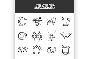 Jeweler icons set