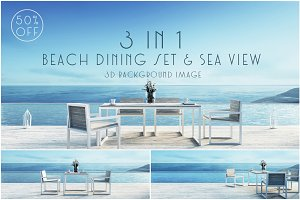 Beach dining set & sea view