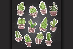 Cute hand drawn vector cactuse set