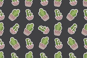 hand drawn vector cactuse pattern