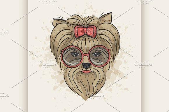 Vector Color Sketch Of Elegant Dog