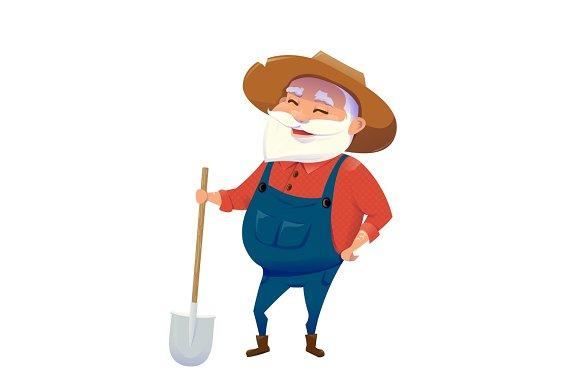 Vector Illustration Of Old Hipster Smile Farmer Man