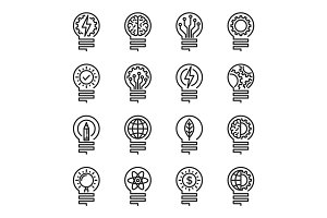 Lightbulb thin line icon set. Editable stroke. Vector illustrati