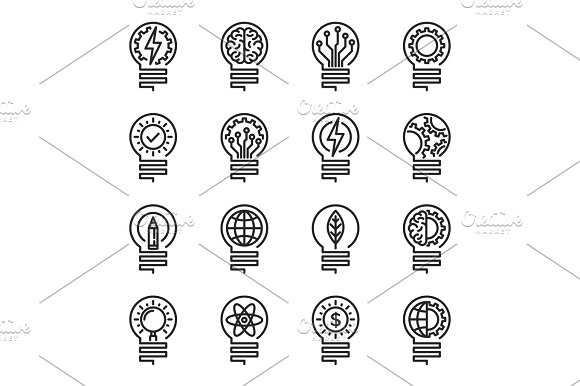 Lightbulb Thin Line Icon Set Editable Stroke Vector Illustrati