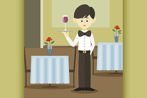 Isolated professional waiter.