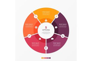 Circle chart infographic template with 5 options.