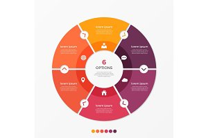 Circle chart infographic template with 6 options.